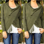 Army Green Women's Casual Loose Long Sleeve Irregular Hem Tassel Cardigan Poncho