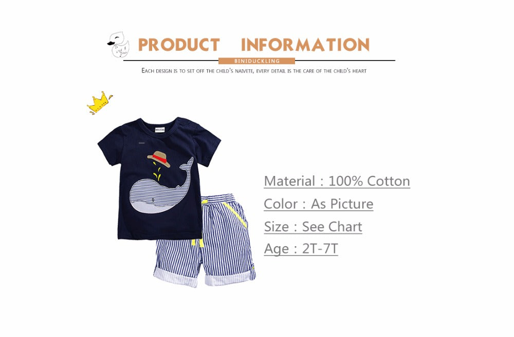 BINIDUCKLING New Summer Kids Clothes Children Clothing Baby Boy Set Toddler Baby Boys Clothing Set Cotton Striped Shorts