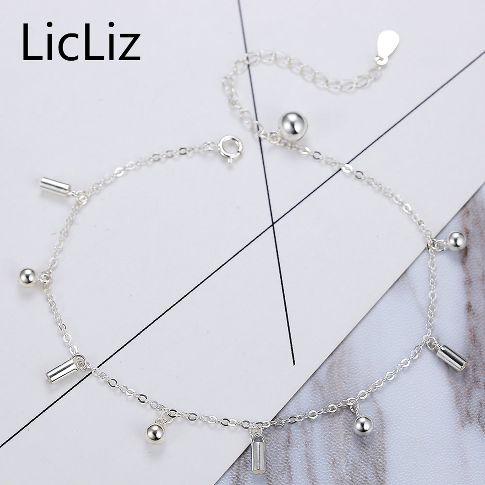 LicLiz Real 925 Sterling Silver Jingle Bell Anklet Link Chain Foot Bracelet Charms Ball Ankle Stretch Bracelets Women LA0005