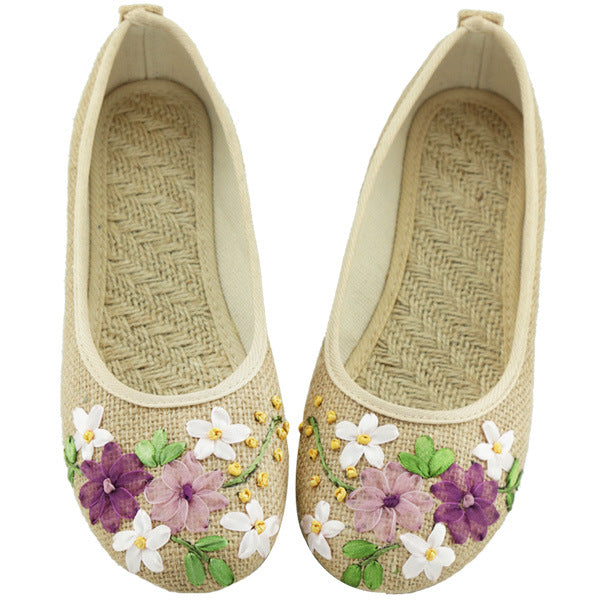 Designer Summer Women Flats Ballet Shoes Embroidery Hand Make Round Toe Canvas Espadrilles Casual Loafers sapato feminino
