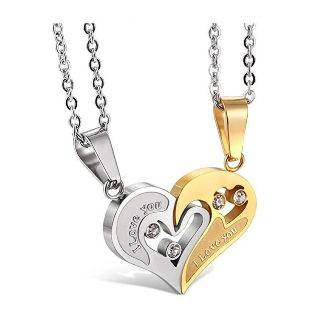 Two Colors Stainless Steel Mens Womens Couple Necklace Pendant Love Heart CZ Puzzle Matching