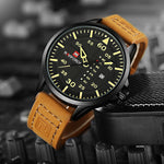 Men's Leather Military Styled Wrist Watch
