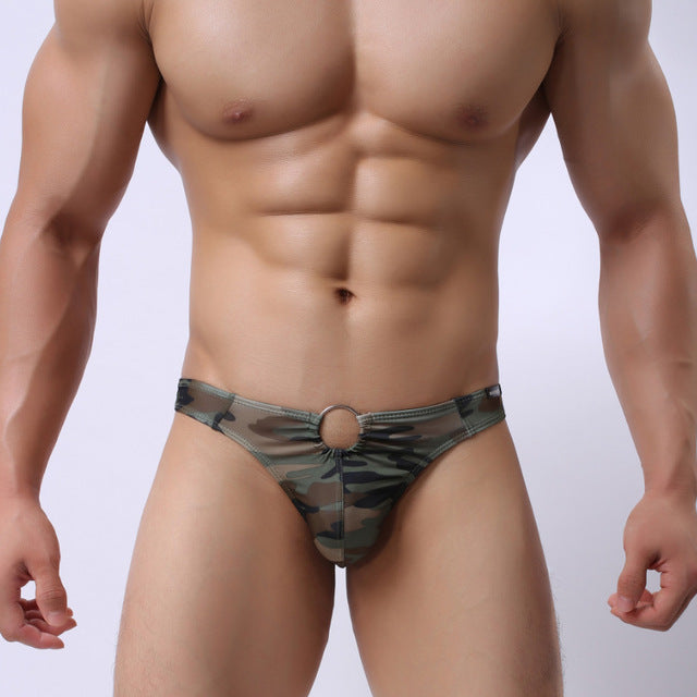High Quality Mens   G String Metal Ring G String Camouflage Fashion Underwear T Back