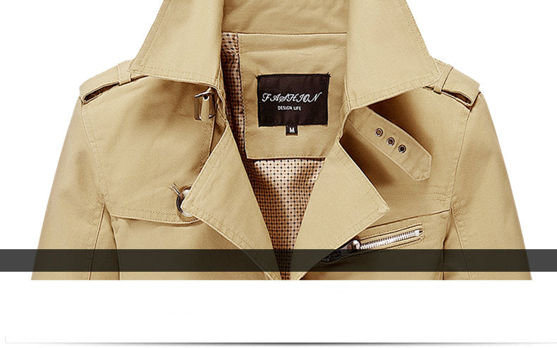 MISNIKI New High Quality Spring Autumn Trench Coat Men Solid Slim Fit Cotton Men Casual Jacket Outwear