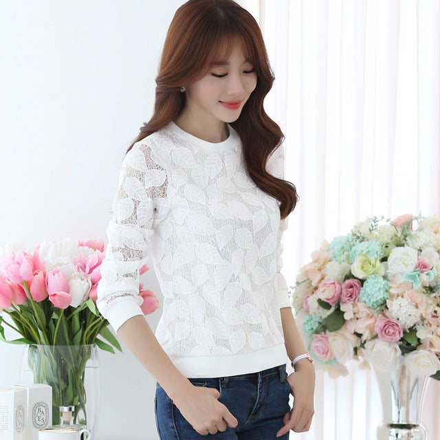 Fashion Lace Blouses Shirt Female Fall Fashion  Chiffon shirt Thin Long Sleeved Shirt 883H 25
