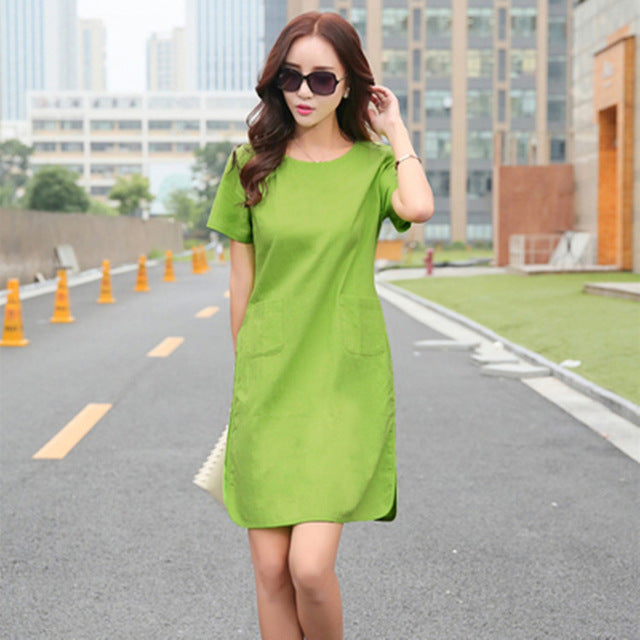 Summer Women Patchwork Cotton Linen Dresses Short Sleeve Loose Knee-Length Vintage Female Dress  Fashion Arts Style Vestido