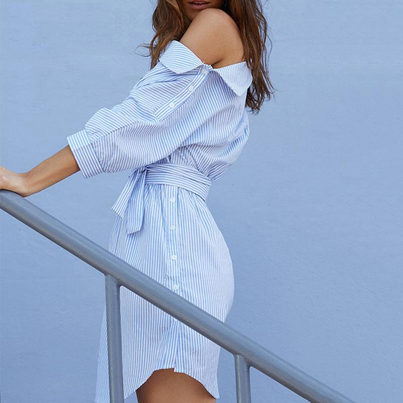 Summer One Shoulder Blue Striped Women Shirt Dresses Sexy Side Split Elegant Puff Sleeve Waistband Beach Dress Plus Size
