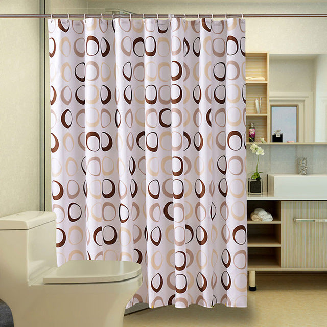Circle Pattern Polyester Bathroom Waterproof Shower Curtains With Plastic Hooks