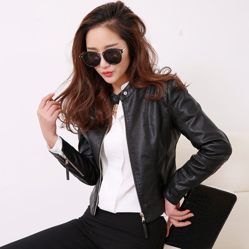 European Style O Neck Collar Pu Leather Jacket  New Fashion Motorcycle Leather Clothing Women Slim PU Locomotive Jackets