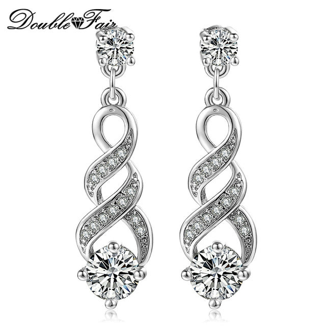 DoubleFair Four Claw 6mm Cubic Zirconia Drop/Dangle Wedding Earrings Rose Gold / Silver Color Jewelry For Women DFE544 DFE725