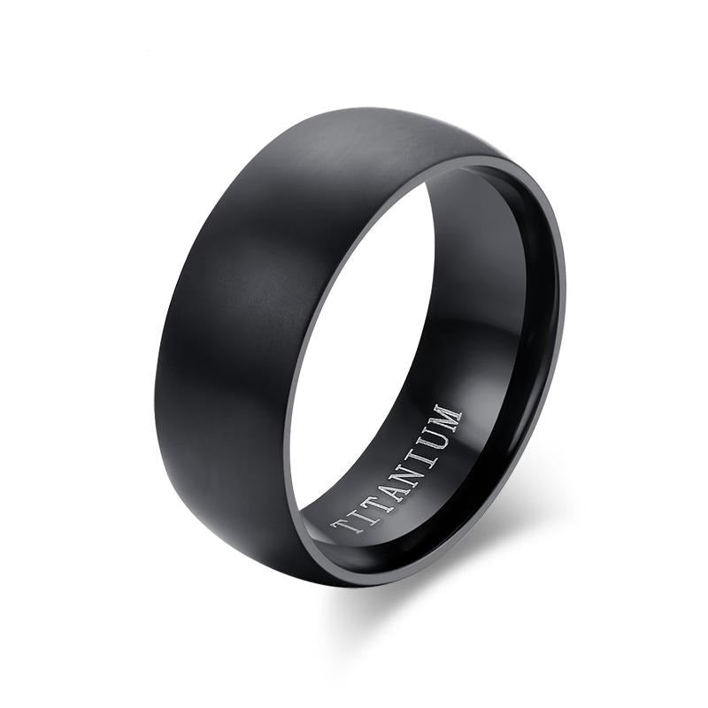 Meaeguet Fashion Men's Black Titanium Ring Matte Finished Classic Engagement Anel Jewelry For Male Wedding Bands