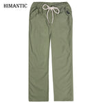 Pants Men Linen Casual Wear Pants Mens Solid Thin Breathable Comfort joggers Plus Size XXXL 4XL Mens Straight Trousers