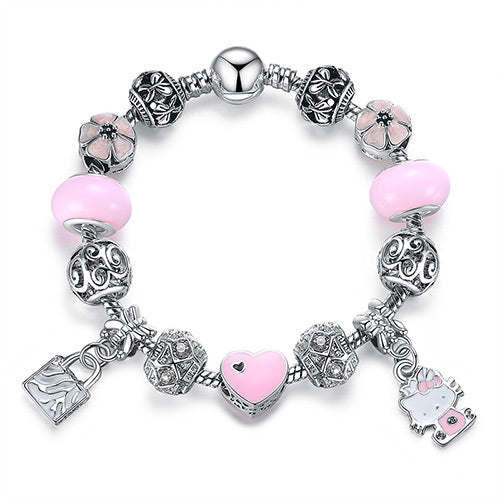 Cute Cat Kitty Charms Fit Original Bracelet Bangle Murano Glass Beads Bracelet for Women Children Girl DIY Jewelry