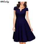 Oxiuly Audrey Hepburn 50s Vestidos Womens Dress Formal V Neck Casual Office Wear Working Bodycon Knee Length A-line Dresses