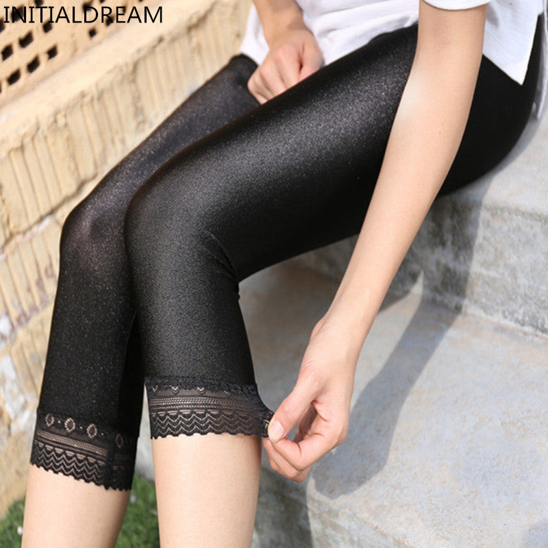 Women's Calf-Length Pants Slim Solid Female Shiny pants Women Mujer Simple Casual Elasticity Trousers Large size S-5XL For Woman