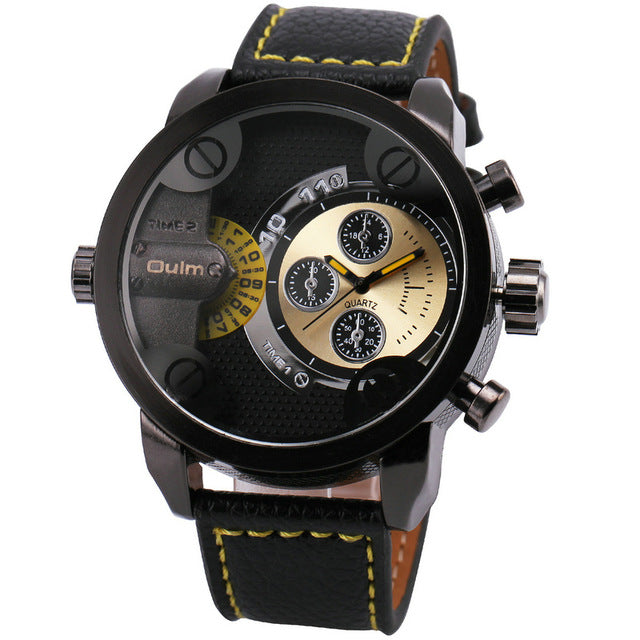 Men's Casual Leather Strap Military Quartz Wristwatch