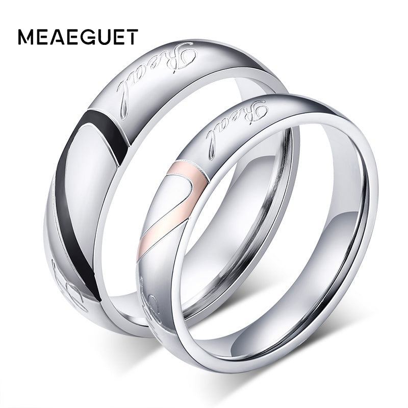 Meaeguet Romantic Heart Wedding Rings 316L Stainless Steel Wedding Rings For Lover Wedding Bands
