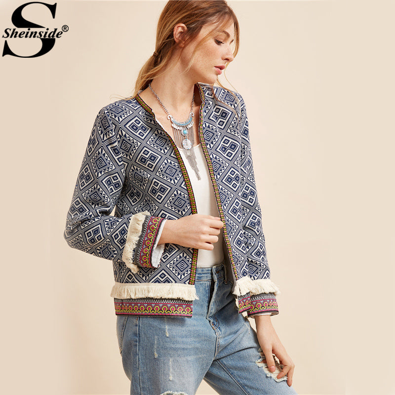 Women's Tribal Embroidered Blue Vintage Fringe Jacket