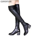 Fashion PU Leather Over Knee Boots Women Sequined Toe Elastic Stretch Thick Heel Thigh High Riding Boots Big Size 40 WBS156