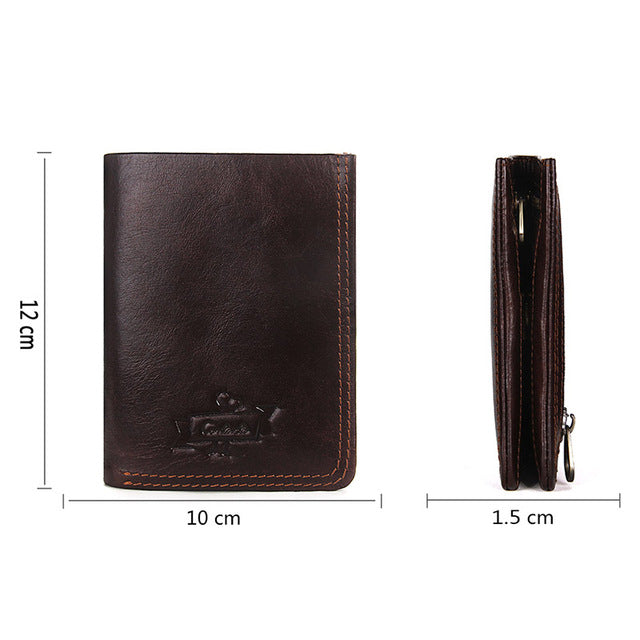 CONTACT'S Men Casual Genuine Cowhide Leather Wallet Vintage Design Small Coin Purse Male Short Slim Zipper Wallets
