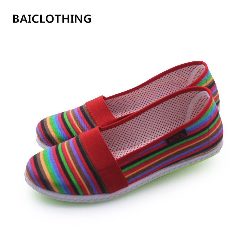 BAICLOTHING Sapatos Femininos Women Round Toe Slip-on Loafer Female Cute Stripe Cloth Flat Shoes Ladies Casual Soft Red Shoes