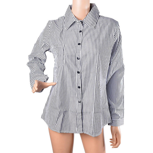 Women's Striped Long Sleeve Turn-down Collar Loose Fit Blouse