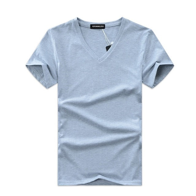 V-Neck Men T-Shirt Short Sleeve Solid Casual Cotton 5XL Tee Shirt  Fashion BY176