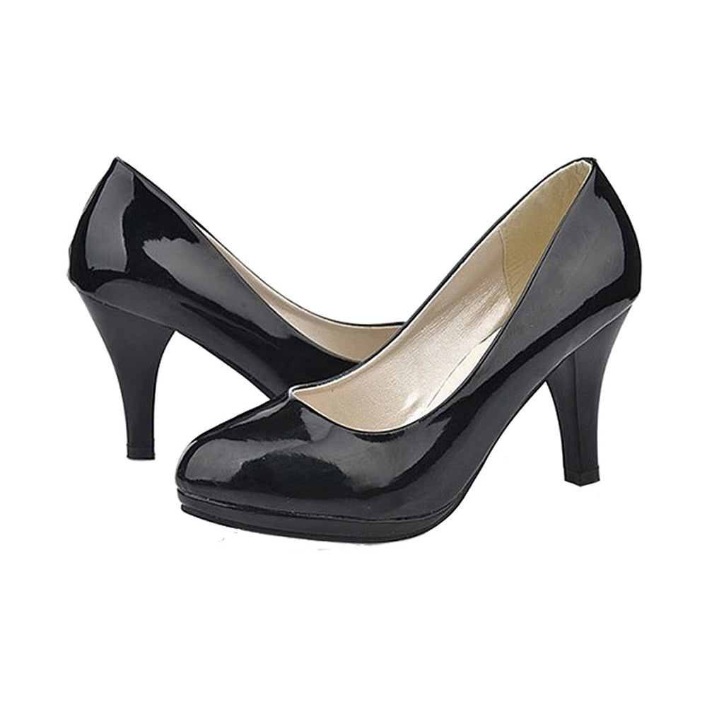 Classic   office lady round Toe platform low Heels Women wedding Pumps Shoes Black US3.5