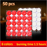 50pcs aroma candle scented fragrance candle wax tea lights romantic candle smokeless6 colors burning time 2 hours