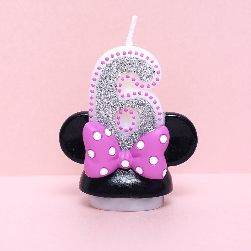 Girl Mouse Ears Candles Smokeless Child Birthday Number Candle Decorative Birthday Candles for Cake Decoration