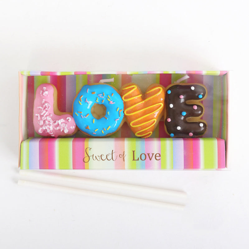 Doughnut Birthday Candles Smokeless Romantic Wedding Candle Doughnut Decorative Candles Birthday Candles for Cake Decoration