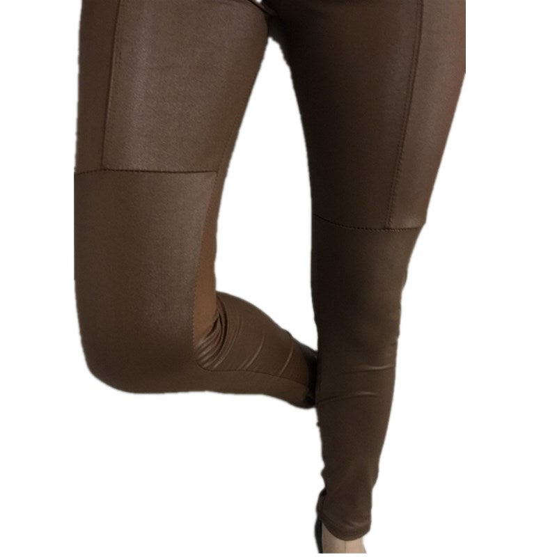 Limited Rushed Solid Mid Knitted All Code C4 Women's Pu Leather Skinny Leggings Waist Fashion Pants Leggings
