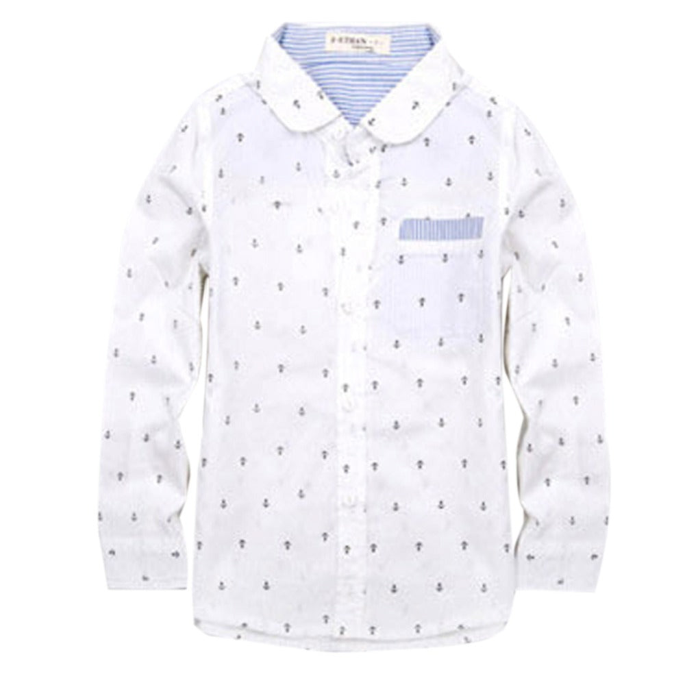 Boys long sleeve shirts  Cotton 100% Solid Autumn Baby Blouse Children Dots Long Sleeves Shirts