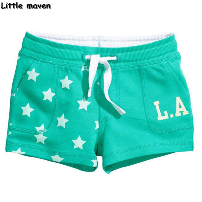 Little maven children's brand trousers Summer new fashion cotton girls shorts star print letter short pants