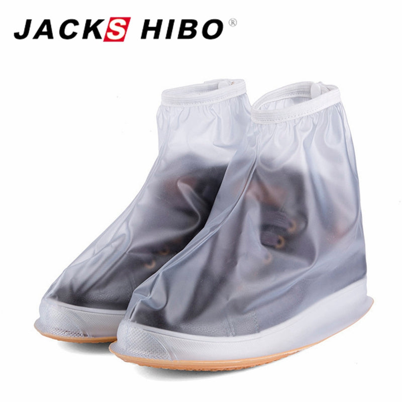 JACKSHIBO Waterproof Rain Reusable Shoes Covers Slip-resistant Zipper Easy Wear Rain Boot Overshoes Men&Women's Shoe Accessories