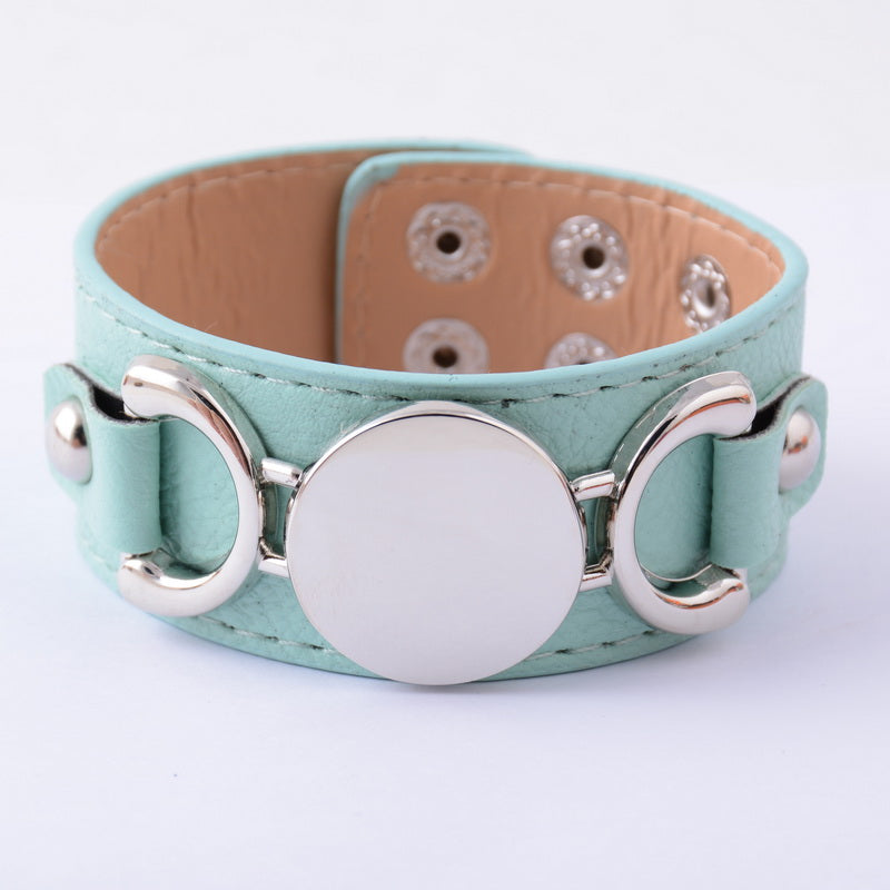 Rainbery  Monogram Leather Bracelet Fashion Jewelry Silver Plated Pulseras 3 Row Multicolor Leather Cuff Bracelet For Women Men