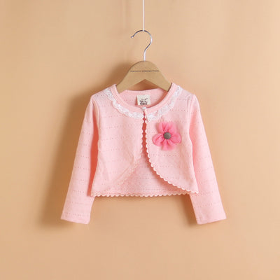 Summer Thin Girls Coat Long Sleeve Girls Kids Cardigans Sweater Knitted Pattern Girls Clothing Solid Kids Outwear casacos