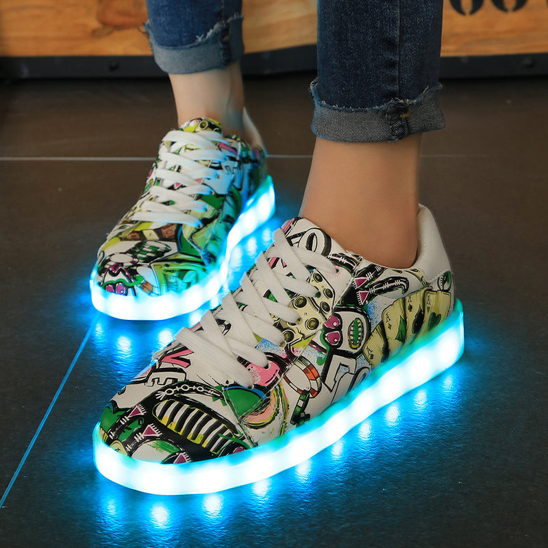 New woMen Fashion Luminous Shoes High Top LED Lights USB Charging Colorful Shoes Unisex Lovers Casual Flash Shoes
