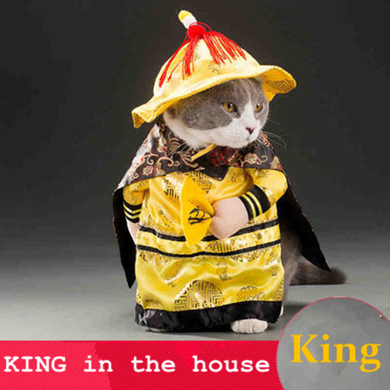 Cats outfit small Dog Puppy Cat Pet Costume Clothes Golden King Empire Cosplay Costumes Suit clothes Cat Dog supplies