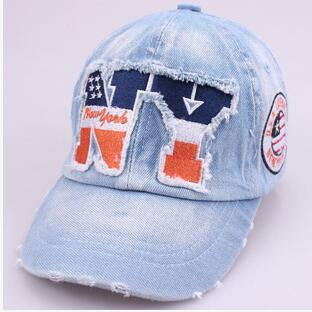Brand New High Quality Kids Baseball Caps Baby Has & Caps Fashion Letter Jean Denim Cap Baby Boys Girls Sun Caps for 2-7Y