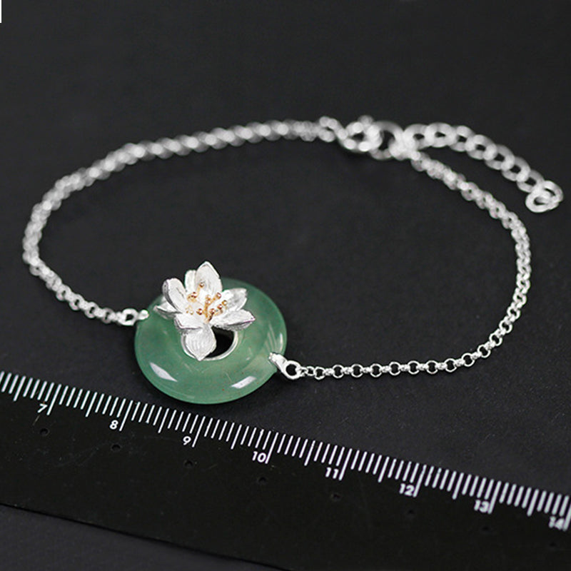 Lotus Fun Real 925 Sterling Silver Natural Stones Creative Handmade Fine Jewelry Lotus Whispers Bracelet for Women Brincos
