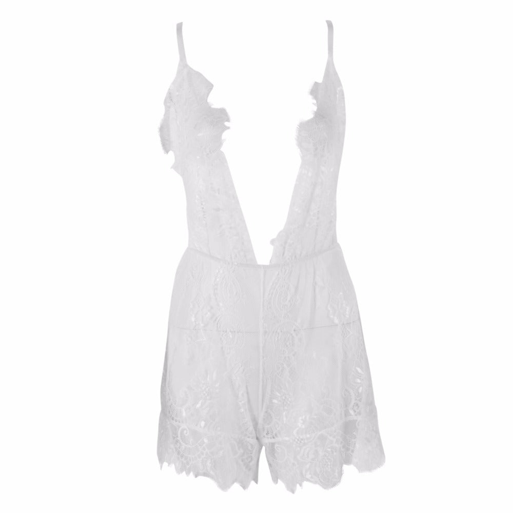 Summer Women Bodysuit Lace Belt V neck Piece Pants Fashion   Back Lace Shorts Ladies Clothes