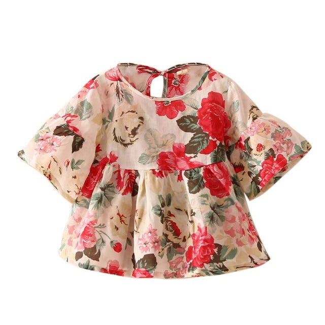 Baby Kids Girls Retro Floral Blouse Flare Sleeve O-neck Tops Shirt Party Ruffles Blouses