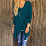 Blue Women's Casual Loose Long Sleeve Irregular Hem Tassel Cardigan Poncho
