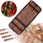 5 Piece: Stainless Steel Wood Handle Grilling Roasting Forks with Bag