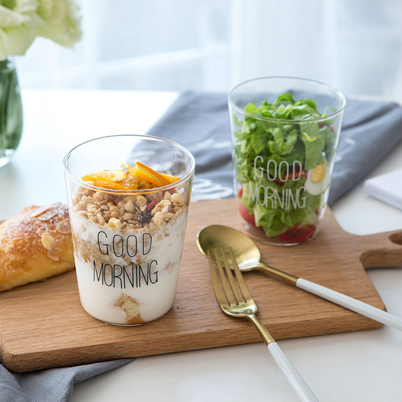 "2 Pack: ""Good Morning"" Breakfast Glass Cups"