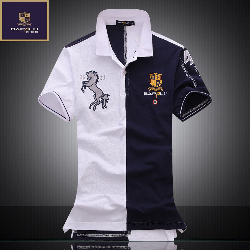 Spring Autumn men's short-sleeved polo shirt lapel spell color breathable 100% cotton casual Business POLO shirt bapalu Brand