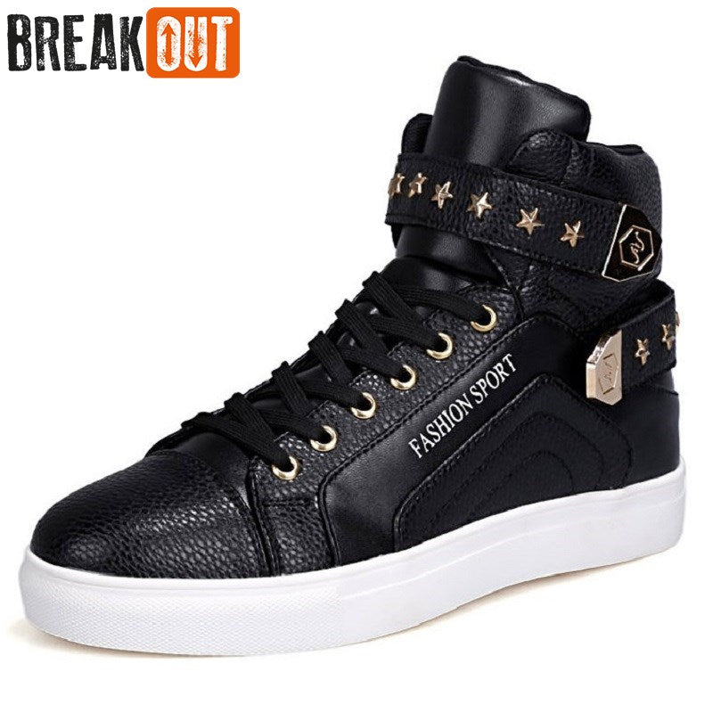 Break Out New Men Boots For Men PU Leather Boots Breathable High Top Waterproof Casual Men Shoes 3 Colors