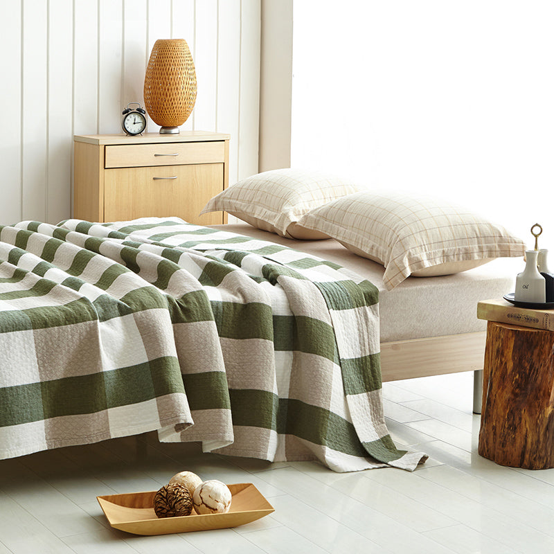 Yarn Knit 100% Cotton Soft Plaid Bed Blanket