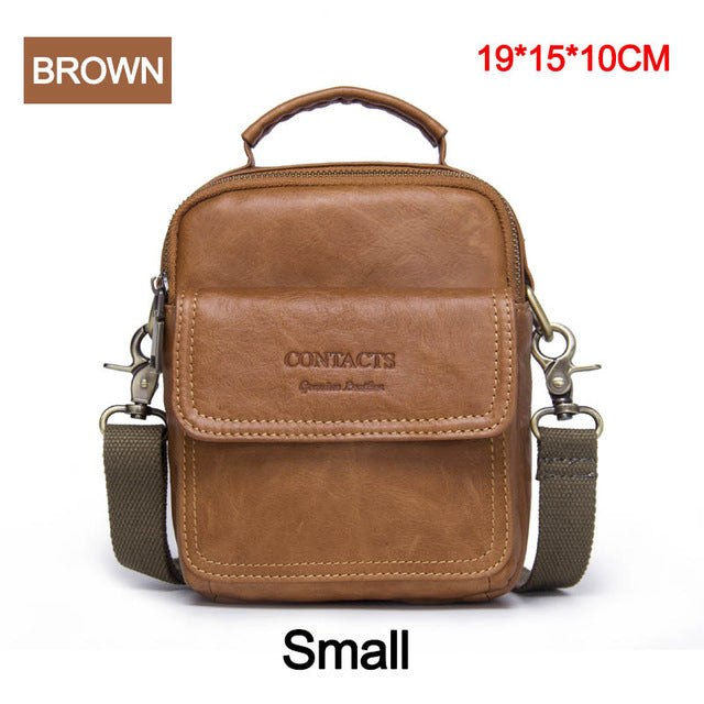 88f269d3c3 CONTACT S Genuine Leather Shoulder Bags Fashion Men Messenger Bag Small ipad  Male Tote Vintage New Crossbody